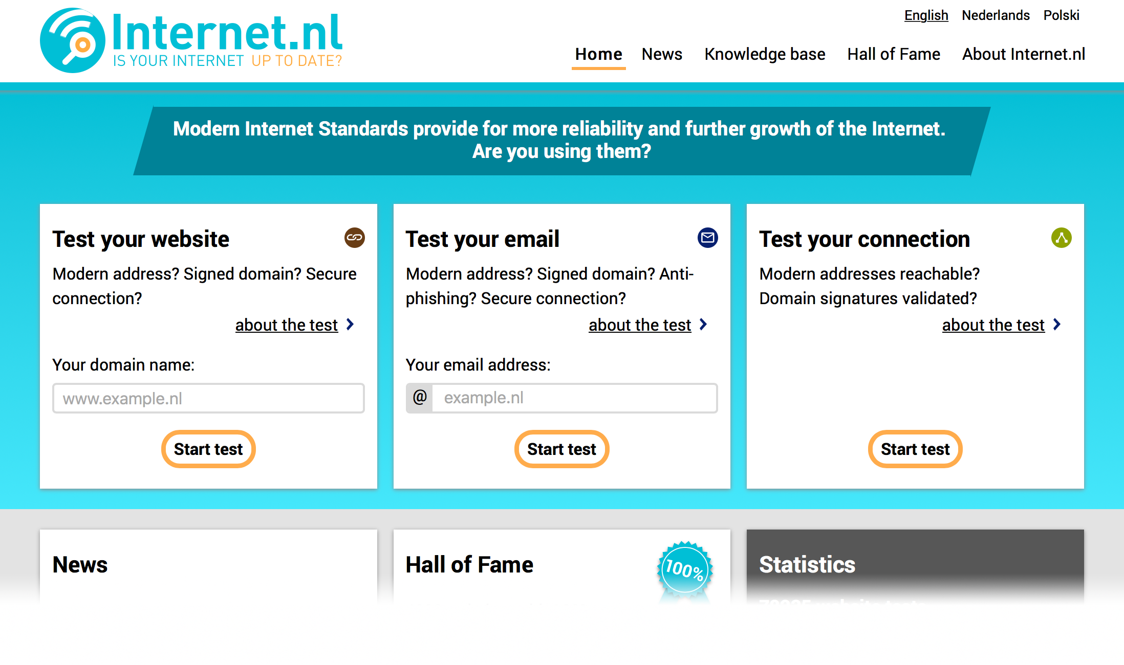 Home page of Internet.nl