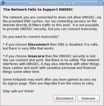 Network DNSSEC failure screenshot